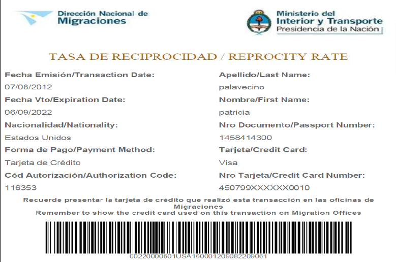 Reciprocity fee to enter argentina