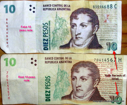 Comparison of real and fake 10 peso notes