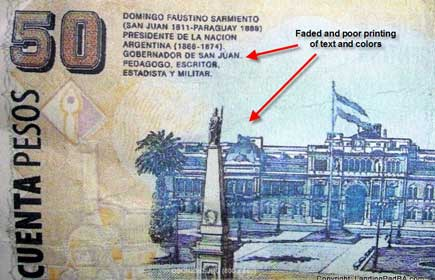 Back of a fake 50 peso note