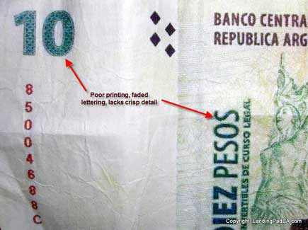 Front of a fake 10 peso note